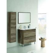 Mobile da bagno sospeso con specchio e colonna laterale sospesa