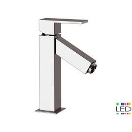 Miscelatore lavabo con luce led senza scarico.