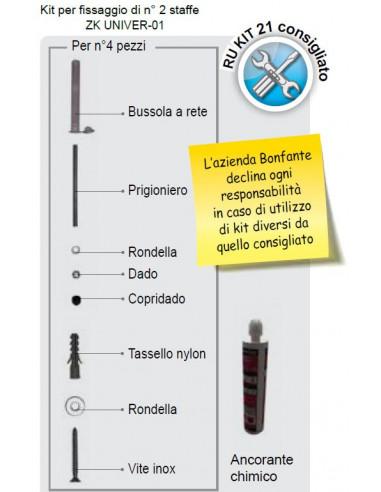 kit fissaggio n° 2 staffe zk univer-01 o aq 8020-ct