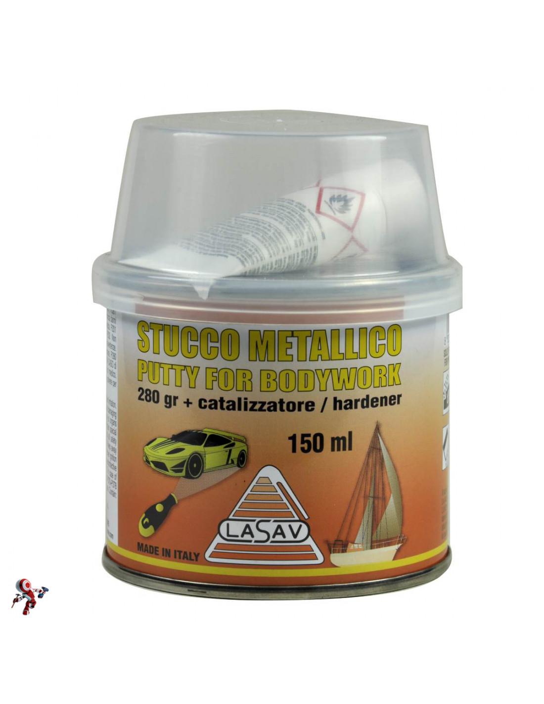 Dettagli su Stucco metallico per carrozzeria auto bicomponente con catalizzatore 150 ml