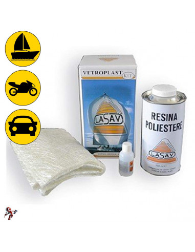 Kit vetroresina e fogli di fibra di vetro riparazione auto nautica moto 750 ml