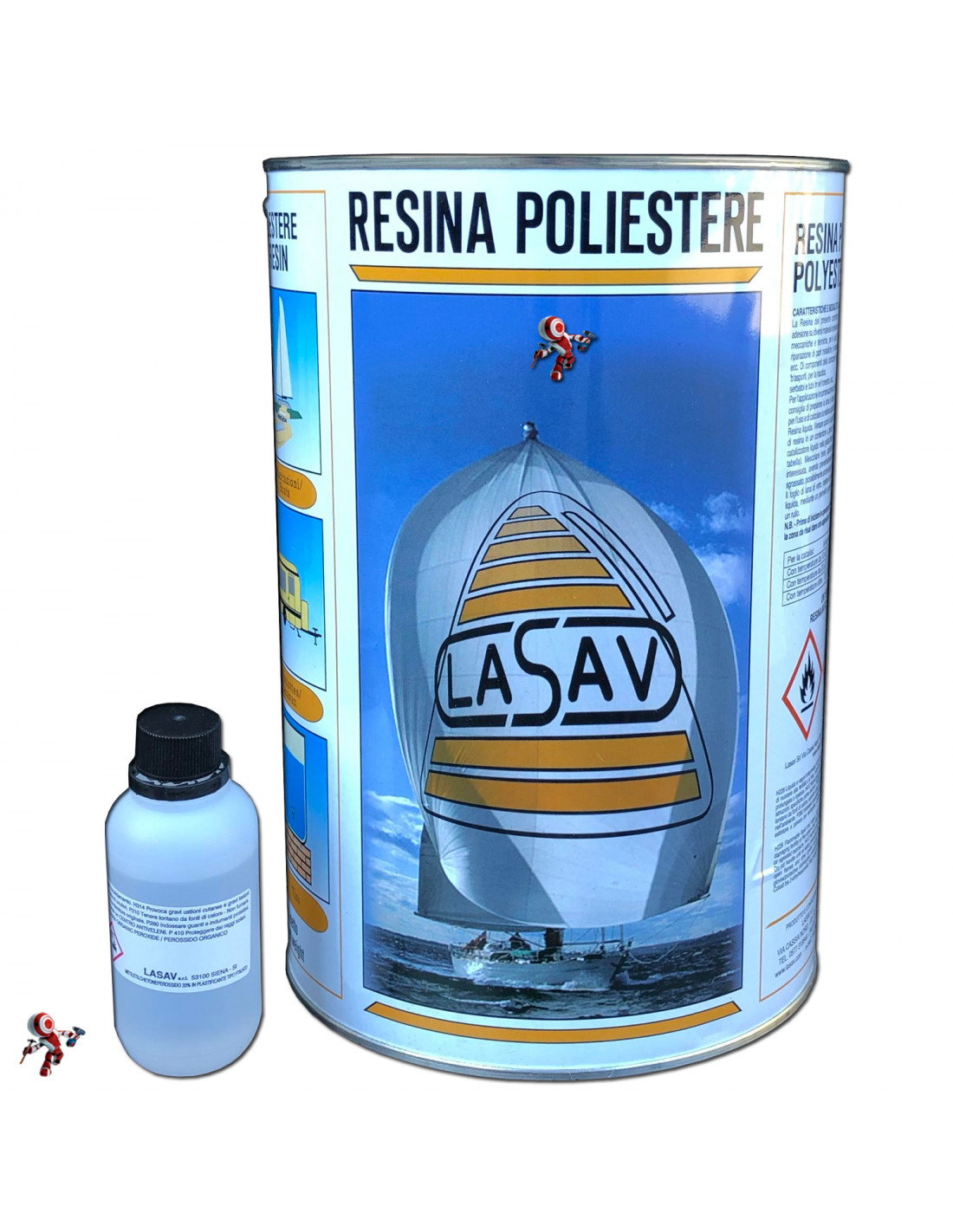 Resina poliestere liquida trasparente bicomponente per barche stampi 5 litri
