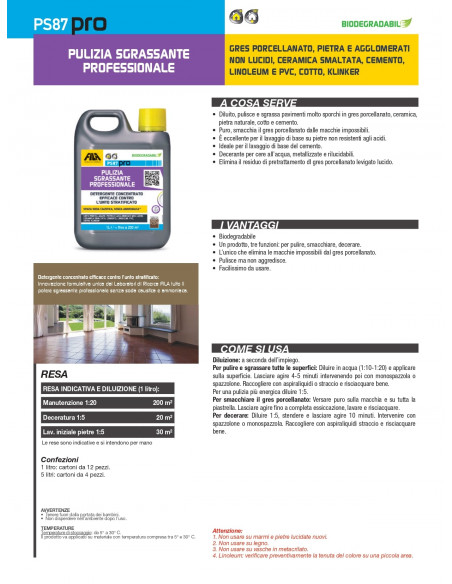 Fila PS 87 pro detergente decerante sgrassante