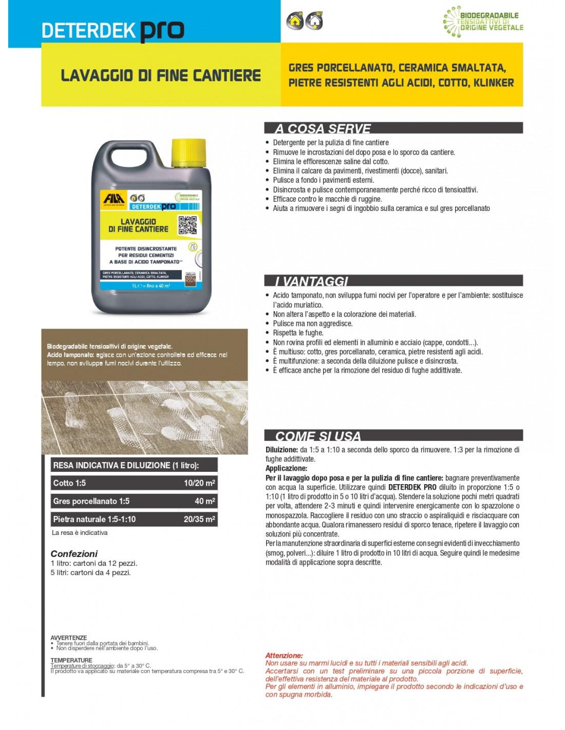 Detergente Per Cotto Esterno fila deterdek detergente disincrostante acido 1 lt